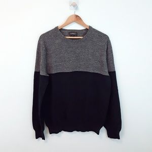 Express Two Tone Blue & Gray Pullover Sweater